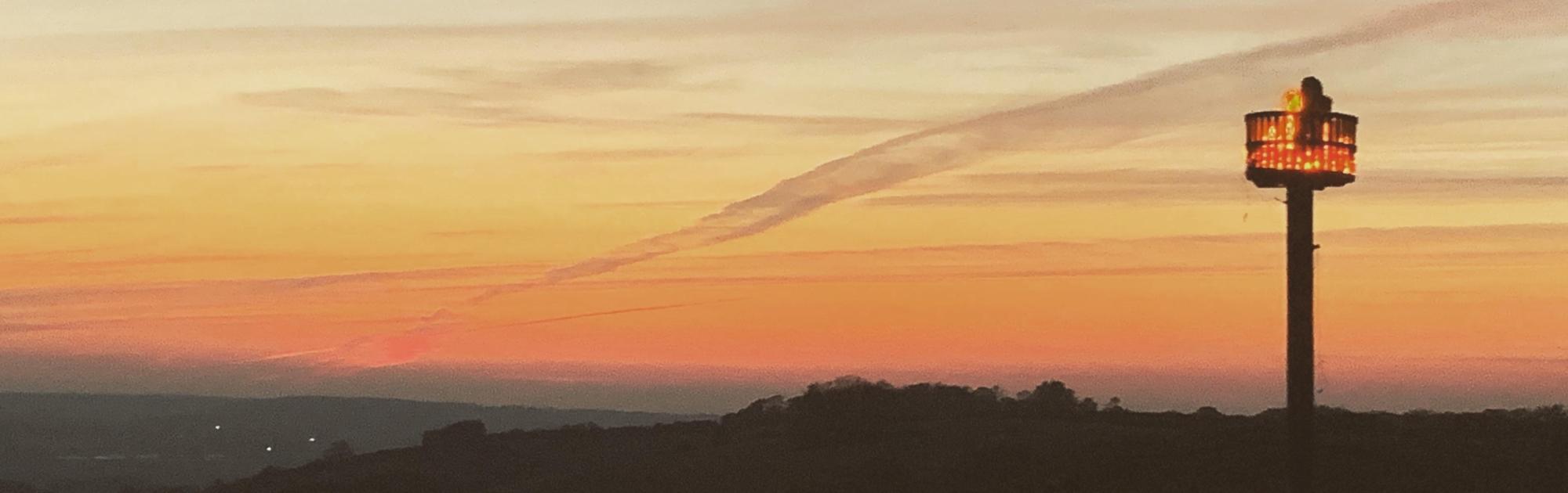 Beacon at sunset